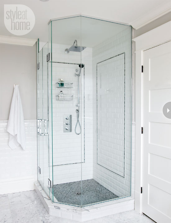 Corner shower transitional bathroom style at home for Bathroom designs with corner bath