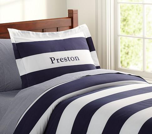 Rugby Blue Stripe Duvet Cover