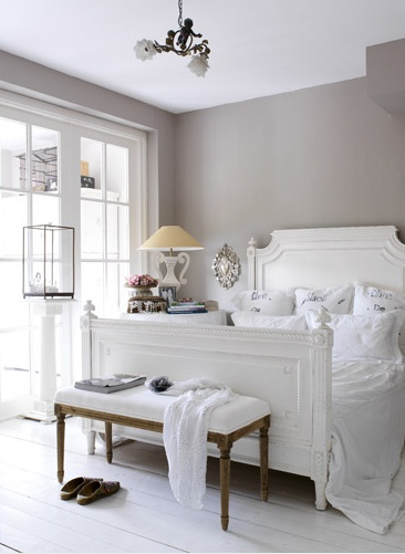 Romantic Gray And White Bedroom With Warm Gray Walls And White Plank Floors