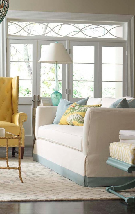 Turquoise and Yellow Living Room Contemporary living