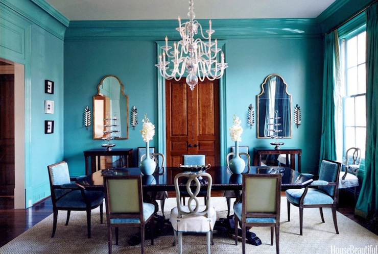 Turquoise dining room eclectic dining room glidden for Homes with beautiful dining rooms