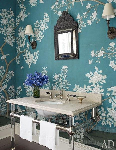 Peacock blue wallpaper asian bathroom architectural for Blue bathroom wallpaper