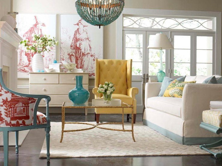 Yellow And Blue Living Room Design With Currey Co Alberto Orb Chandelier Over Brass Glass Coffee Table
