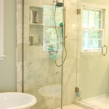 Grecian Marble Tile, Traditional, bathroom, Sherwin Williams Sea Salt, Benign Objects