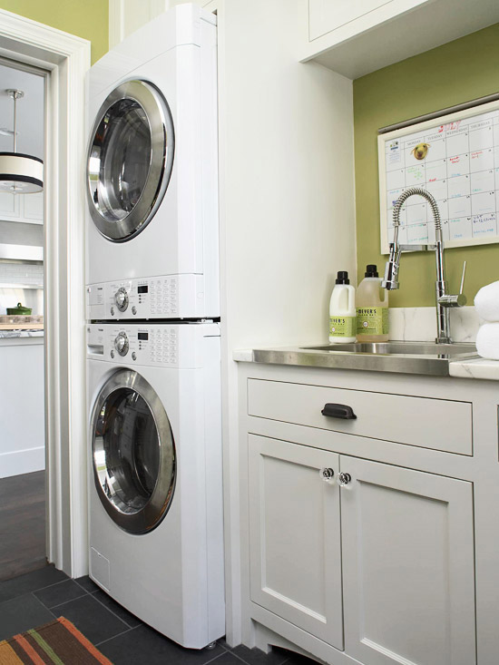 White and Green Laundry Room - Contemporary - laundry room ...