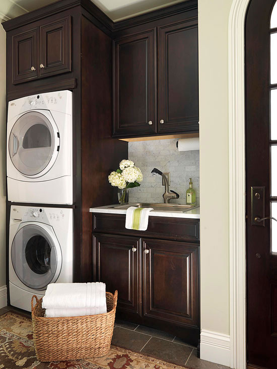 Espresso cabinets transitional laundry room bhg - Laundry room designs small spaces set ...