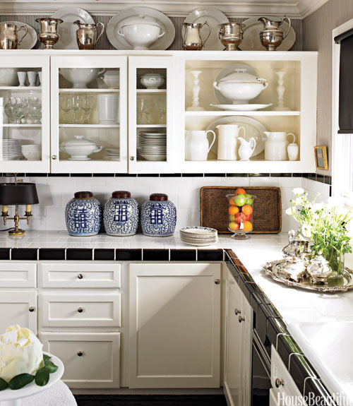 Subway Tile Countertops Transitional Kitchen