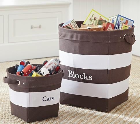Stupendous Chocolate White Striped Canvas Buckets Pottery Barn Kids Machost Co Dining Chair Design Ideas Machostcouk