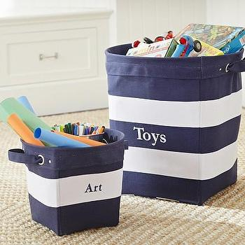 Threshold Navy And White Striped Storage Bin