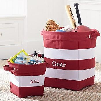 Red Navy Striped Canvas Buckets Pottery Barn Kids