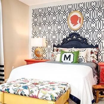 Blue Trellis Wallpaper, Contemporary, girl's room, J and J Design Group