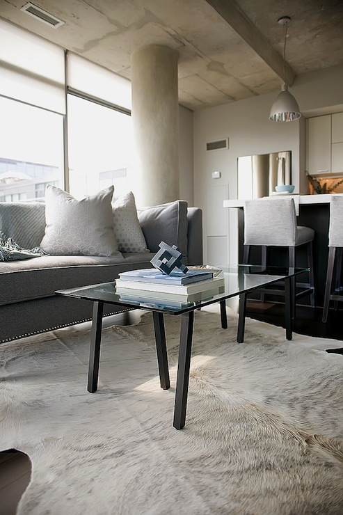 Black and White Cowhide Rug - Contemporary - living room ...