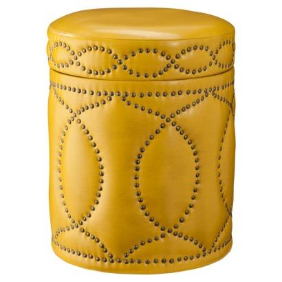 Three Hands Yellow Storage Ottoman with Nailhead Trim I Target - Accent Furniture Nailhead Storage Ottoman, Gray - Target