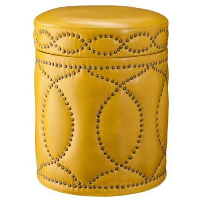 Three Hands Yellow Storage Ottoman With Nailhead Trim I Target