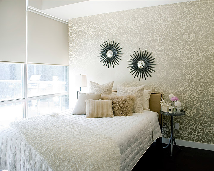 Gold damask wallpaper contemporary bedroom jessica for Modern feminine bedroom designs