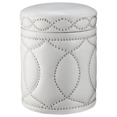 Three Hands White Storage Ottoman with Nailhead Trim I Target - Accent Furniture Nailhead Storage Ottoman, Gray - Target