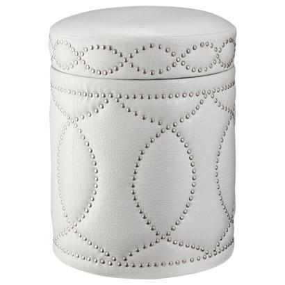 White Storage Ottoman With Tray
