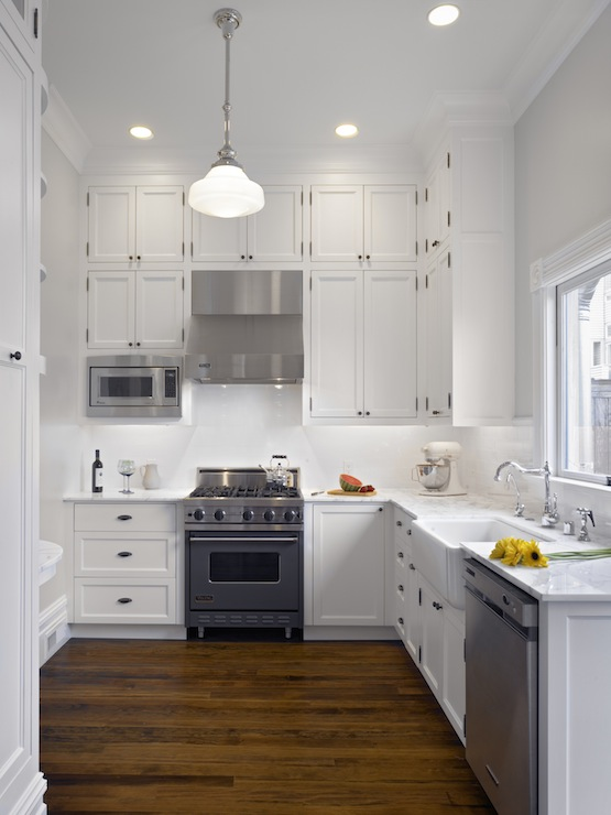 White Marble Subway Tile Kitchen