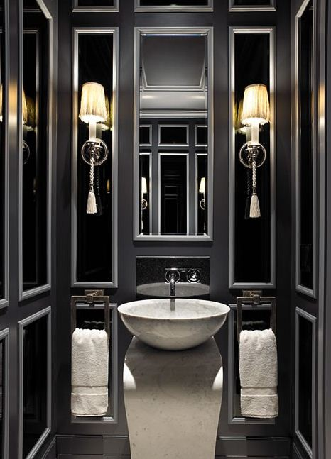 Black powder room contemporary bathroom for Grey silver bathroom accessories
