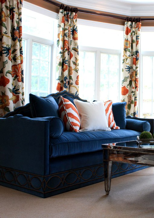 Blue Velvet Sofa Transitional Living Room Porter