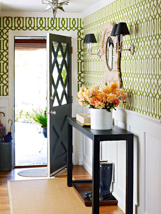 Foyer With Wallpaper : Imperial trellis treillage wallpaper cottage entrance
