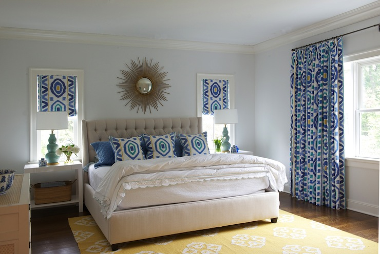 Yellow And Blue Bedroom With Light Blue Walls And Windows Covered In Thom  Filicia Prospect Fabric In Lake.