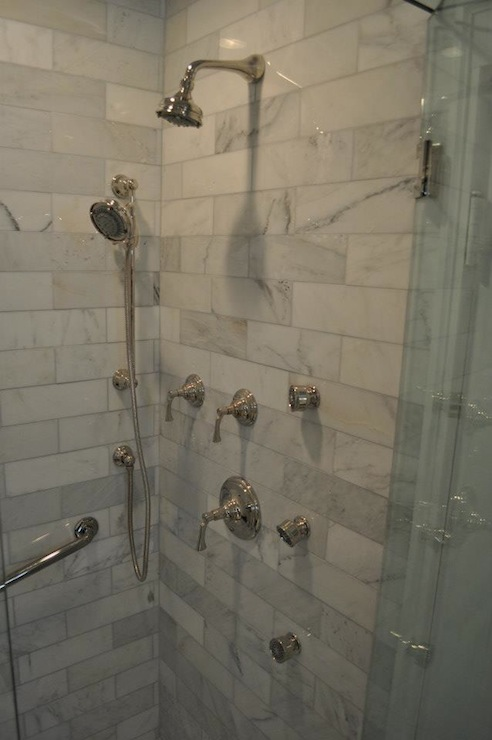 Carrara Marble Shower - Transitional - bathroom - Blank and Baker