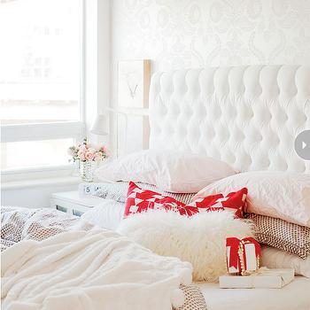 White Velvet Tufted Headboard, Contemporary, bedroom, Style at Home
