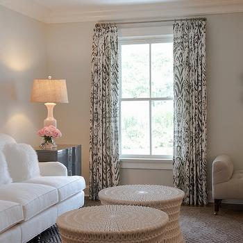 Blue paint colors transitional living room benjamin for What color curtains go with taupe walls