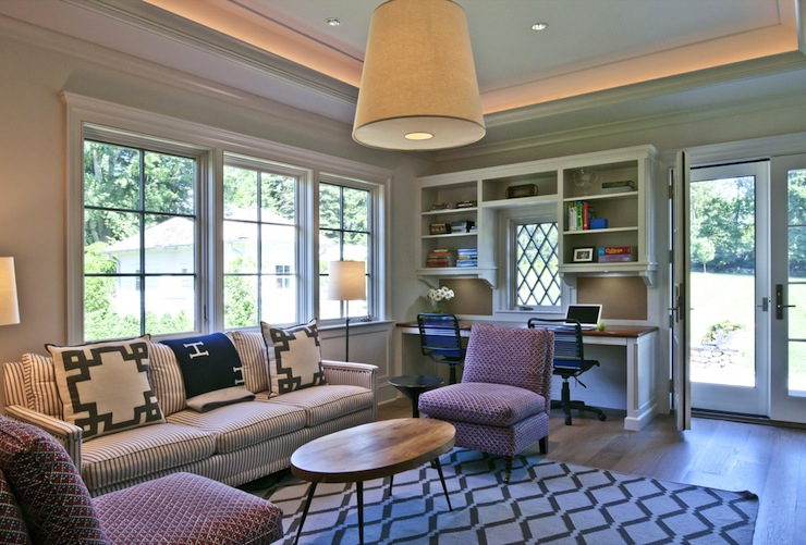 Family Room And Office Combo Design Ideas