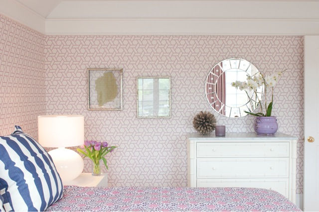 Trellis Wallpaper Transitional Girl S Room