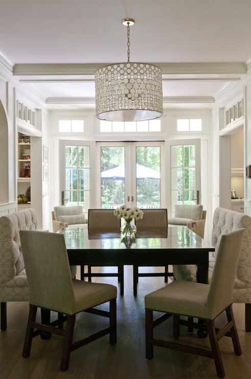 Square dining table transitional dining room for Square dining room table
