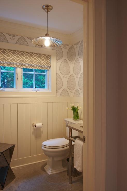 katie ridder leaf wallpaper transitional bathroom