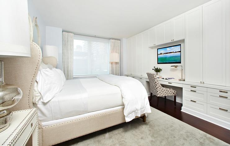 Master Bedroom With Corner Tv Built Ins Transitional