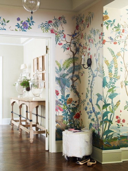 Gracie Hand Painted Wallpaper - Eclectic - entrance/foyer ...