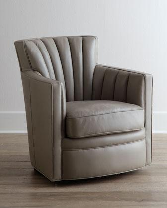 Shelby Swivel Leather Chair I Horchow