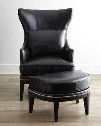 Coolidge Leather Wing Chair I Horchow