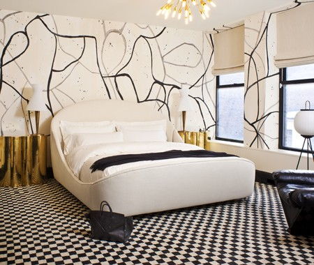 Splattered paint walls contemporary bedroom kelly for Black and grey bedroom wallpaper