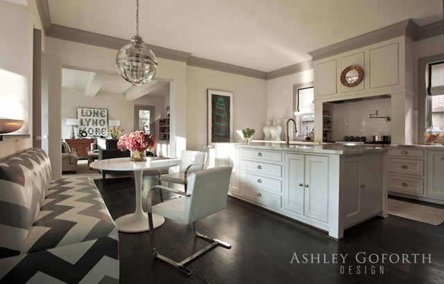 Gray Crown Molding Contemporary Kitchen Ashley