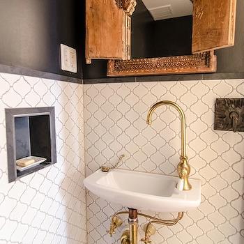 Arabesque Tile, Eclectic, bathroom, Indigo & Ochre Design