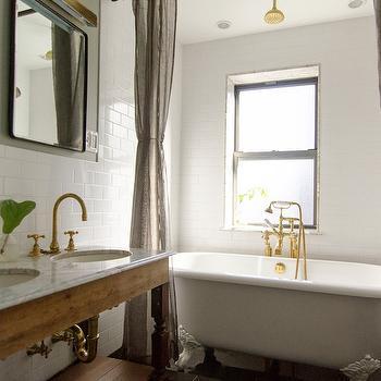 Gray Walls, Vintage, bathroom, Benjamin Moore Metropolis, Indigo & Ochre Design