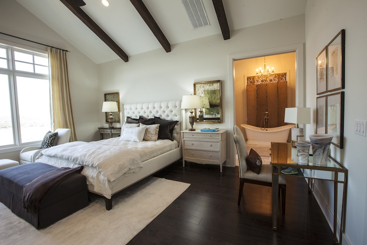 Master Bedroom Vaulted Ceiling mismatched nightstands - transitional bedroom - southern living