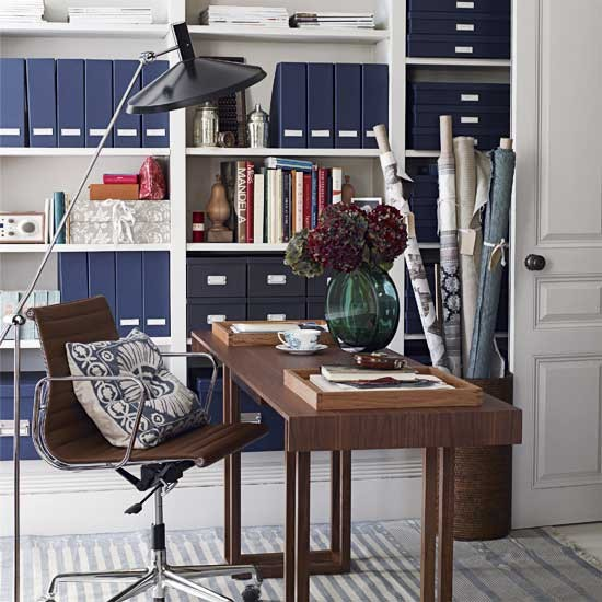 Indigo Blue Accents Transitional Den Library Office House To Home
