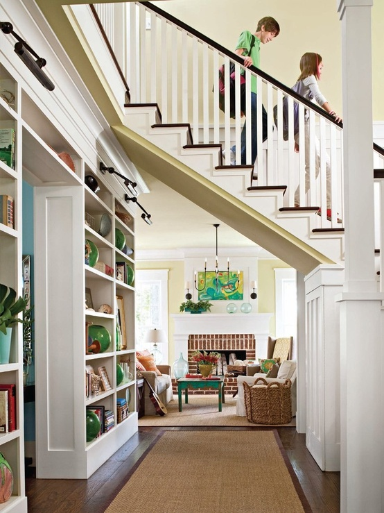 Under Stairs Storage Traditional Entrance Foyer Bhg
