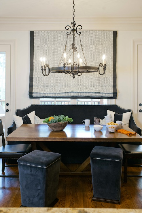 Amazing Dining Room With Custom Black Velvet Banquette Bench With Silver  Nailhead Trim Positioned In Front Of Kitchen Window Covered In Black  Geometric ...