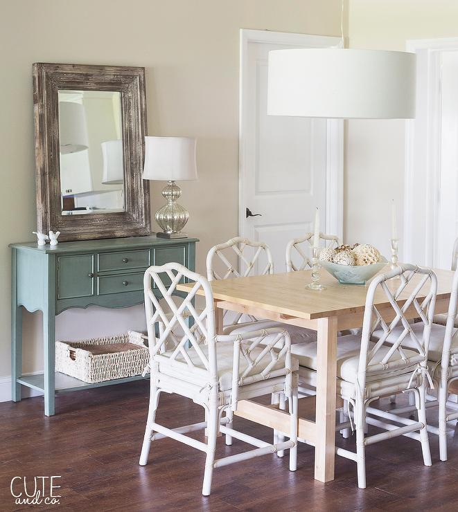 White bamboo chair transitional dining room nicki for Cute dining table