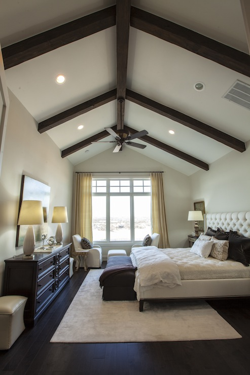 Exposed wood beams transitional bedroom southern living for Master bedroom lighting ideas vaulted ceiling