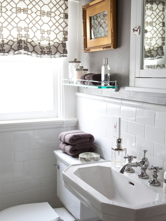Gray paint color transitional bathroom benjamin moore graystone caitlin wilson design - Badkamer retro chic ...