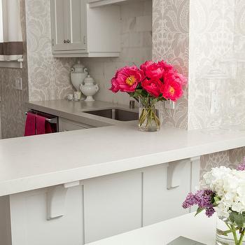 Gray Damask Wallpaper, Transitional, kitchen, Caitlin Wilson Design