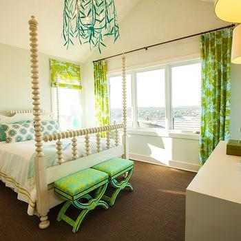Turquoise and Green Girl's Room, Contemporary, girl's room, Southern Living